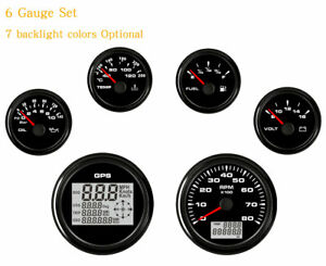 6 Gauge Set With Senders Speedo Tacho Fuel Temp Volts Oil 7 Colors Led Usa Stock