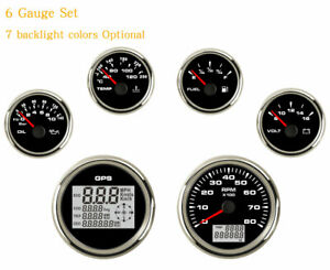 6 Gauge Set With Sender digital Speedometer tacho fuel temp volt oil 7 Color Led