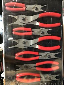 Snap On Tools 7 Pc Retaining Ring Plier Set New Sealed Package