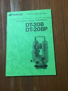 Topcon Dt 20b Dt 20bp Digital Theodolite Instruction Manual Surveying