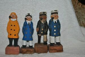4 Hand Carved Wooden Sculpture Captain Fisherman