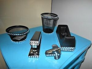Set Of 5 Bling Wire Rhinestone Office Desk Accessories Desk Set New Bling Bling