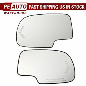 Mirror Glass Heated Turn Signal Left Right Pair Set For 03 07 Chevy Gmc Cadillac