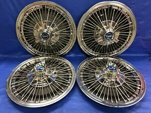 Very Rare Vintage Set Of 4 1967 Ford Mustang 15 Spoke Hubcaps