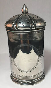 Gorham Coin Silver Muffineer 19th Century Etched Gothic Dome