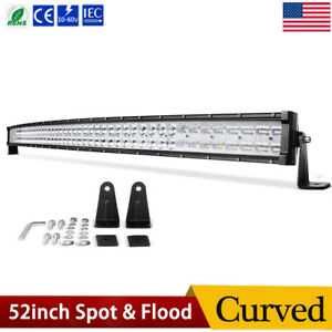Curved 52inch Led Light Bar Flood Spot Combo Off Road Roof Driving Truck Rzr Suv