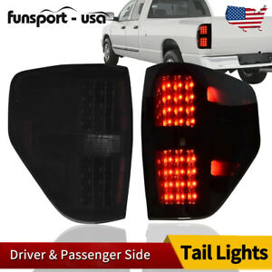 For 2009 2014 Ford F150 Smoked Housing Led Tail Lights Rear Brake Parking Lamps