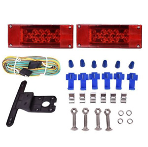 Rectangle Submersible Trailer Led Light Kit Stop Turn Tail And License Red White