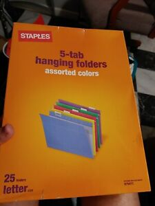 Staples Hanging File Folders 5 Tab Letter Size Assorted 25 box 875411
