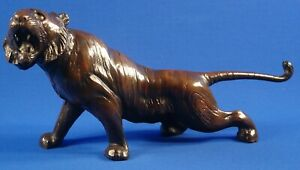 Japanese Bronze Style Okimono Tiger Sculpture 15 L