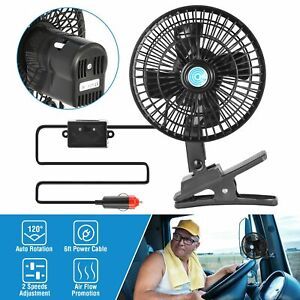 12v Car Clip On Cooling Oscillating Fan Conditioner 2 Speed For Truck Auto Vans
