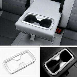 Fit For 2019 2020 Toyota Rav4 Abs Matte Silver Rear Cup Holder Frame Cover Trim