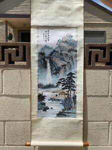Chinese Antique Handpainted Scroll Painting Of Mountains And Trees