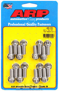 Arp 400 1202 Stainless Header Bolts 3 8 12 Point Head Set 16 750 Uhl Bbc Ford