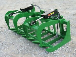 60 Dual Cylinder Root Grapple Bucket Attachment Fits John Deere Tractor Loader