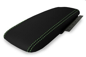 Console Armrest Cover Carbon Fiber For Ford Crown Victoria 03 11 Green Stitch