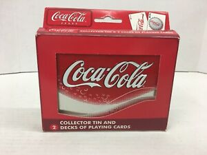 Coca-Cola Collector Tin with 2 Sealed Decks of Coca-Cola Playing Cards in Box