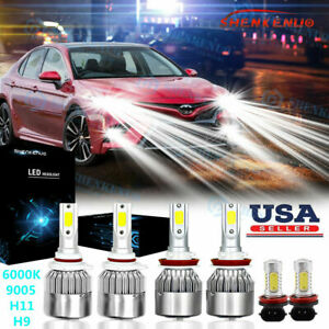 For Toyota Camry 2007 2014 6000k Led Headlight Fog Light 6x Bulbs Combo Kit