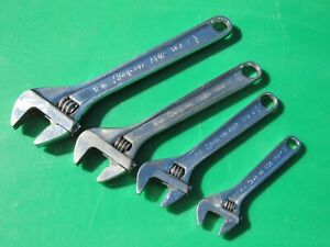 Snap On 4 Piece Adjustable Wrench Set Ad6 6 Ad8 8 Ad10 10 Ad12 12 Ad704