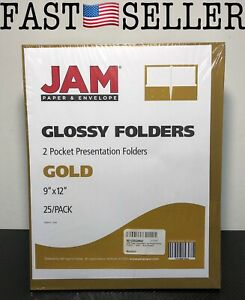 Jam Paper Laminated Two Pocket Glossy Folders Gold 9 X 12 25 Count 385ggod