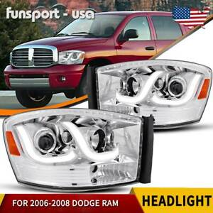 For 2006 2008 Dodge Ram 1500 06 09 Ram 2500 3500 Led Tube Headlights Headlamps