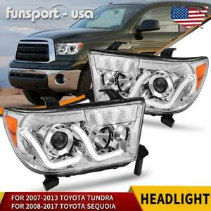 For 2007 2013 Toyota Tundra 2008 2017 Sequoia Led Projector Headlights Headlamps