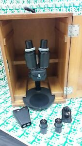 Microscope Carl Zeiss Binocular With A Set Of Lenses And Eyepieces