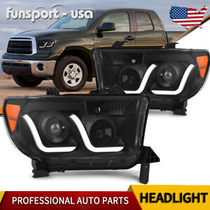 Led Tube Projector Headlights For 2007 2013 Toyota Tundra 08 17 Sequoia Headlamp