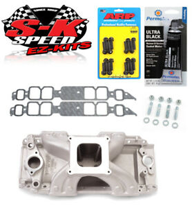 Edelbrock 2902 Victor Jr Intake Manifold W bolts gaskets rtv Bbc Rectangle Port