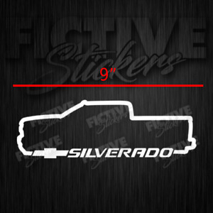 Silverado Chevy Crew Cab Truck Outline Decal 9 White