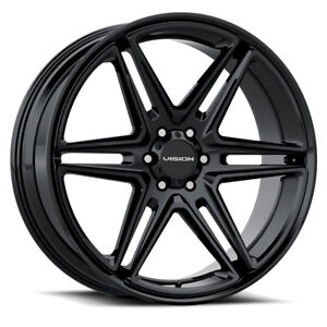 22x9 5 Gloss Black Wheels Vision 476 Wedge 5x5 5 5x139 7 8 set Of 4