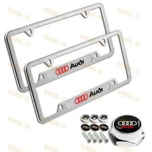 2x For Audi Silver Metal Stainless Steel License Plate Frame Caps Bolts Screw
