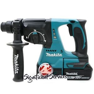 Makita Xrh01z 1 18v Lxt Sds Plus Brushless Rotary Hammer Drill 5 0 Ah Battery