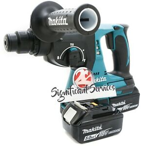 Makita Xrh01z 1 18v Lxt Sds Plus Brushless Rotary Hammer Drill 5 0 Ah Batteries