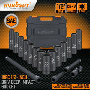 18 Pcs 1 2 Inch Drive Deep Impact Socket Set Sae Inch Axle Hub Nut 6 Point Cr V