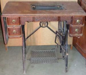 Antique Cast Iron Wood White Sewing Machine Table Anitque Piece Needs Machine