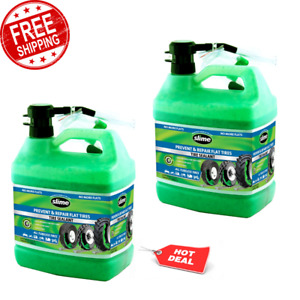 2 Pack Slime Tubeless Repair Flat Tire Sealant 1 Gallon Puncture Cleans Easy New