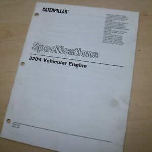 Caterpillar 3204 Diesel Engine Specifications Service Manual Cat Shop Repair 10x