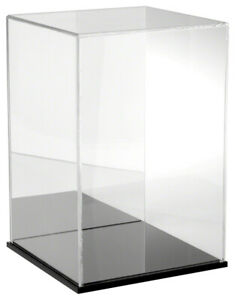 Plymor Clear Acrylic Case W Black Base mirror Back 10 W X 10 D X 15 H