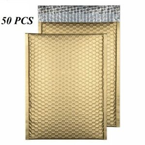 50 0 Glamor Metallic Gold Poly Bubble Mailers Envelopes Bags 6x10 Dv