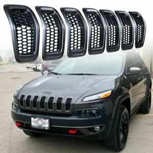 For 2014 2018 Jeep Cherokee Honeycomb Mesh Grill Grille Insert Trim Ring Cover