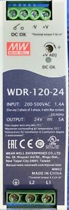Mean Well Wdr 120 24 Ac dc Power Supply Input 200 500v Output 24vdc 5a 120w