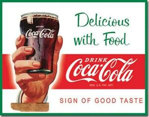 Drink Coca Cola Coke Sign Of Good Taste Retro Tin Metal Sign Made In USA