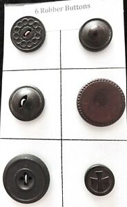 6 Vintage Civil War Era Rubber Buttons Including Goodyear 1851 4803