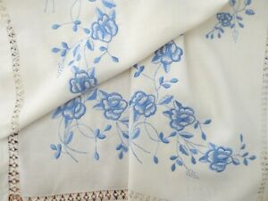 Vintage Blue Silk Pansy Hand Embroidery Linen Tablecloth Runner Drawnwork 69 Sq