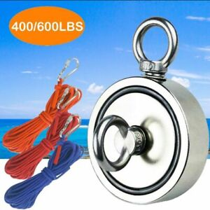 Round Double Side Super Strong Neodymium Fishing Magnet 400 600lb Pulling Force