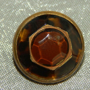 Antique Waistcoat Button Faceted Glass Apx 1 2 127 A