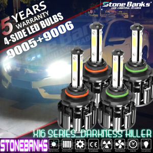 4 Sides 9005 9006 Led Headlight High low Bulbs Headlamp Combo Set 8000lm 6000k