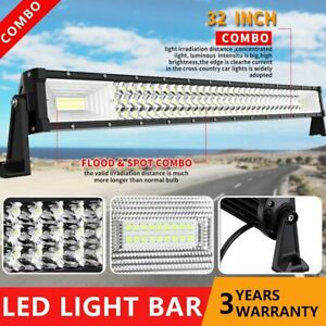 Tri row 32 inch Cree Led Light Bar Spot Flood Combo Fit Jeep Offroad Suv Atv 4wd