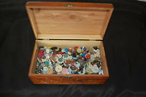 Lot Of Antique Vintage Buttons In Custom Hand Made Box